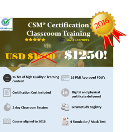 CSM Live Classroom Training in New York for USD 1275